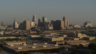 DX0001_001015 - 5.7K stock footage aerial video flyby the downtown skyline at sunrise, Downtown Kansas City, Missouri