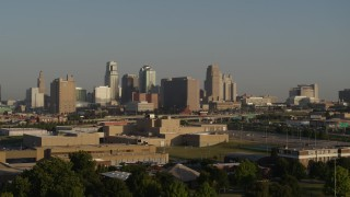DX0001_001023 - 5.7K stock footage aerial video of a slow approach to the downtown skyline at sunrise, Downtown Kansas City, Missouri