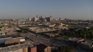 DX0001_001029 - 5.7K stock footage aerial video of a stationary and flyby of the city skyline in Downtown Kansas City, Missouri