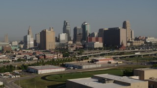DX0001_001057 - 5.7K stock footage aerial video of a view of the city's skyline from east of the freeway in Downtown Kansas City, Missouri