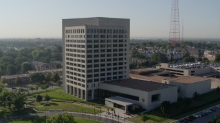 DX0001_001062 - 5.7K stock footage aerial video of an orbit of a government office building in Kansas City, Missouri