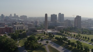 DX0001_001067 - 5.7K stock footage aerial video of a stationary view of the WWI memorial in Kansas City, Missouri