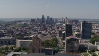 DX0001_001091 - 5.7K stock footage aerial video fly over Crown Center office building, approach Downtown Kansas City, Missouri