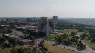 DX0001_001100 - 5.7K stock footage aerial video of approaching a government office building in Kansas City, Missouri