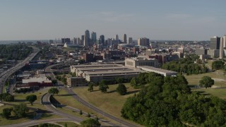 DX0001_001118 - 5.7K stock footage aerial video of a government office building and city skyline, Downtown Kansas City, Missouri