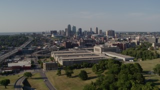 DX0001_001120 - 5.7K stock footage aerial video flyby a government office building and city skyline, Downtown Kansas City, Missouri