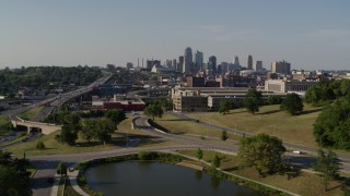 DX0001_001126 - 5.7K stock footage aerial video approach government office building and city's skyline, Downtown Kansas City, Missouri