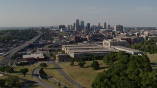 DX0001_001133 - 5.7K stock footage aerial video flyby a government building and city's skyline, Downtown Kansas City, Missouri