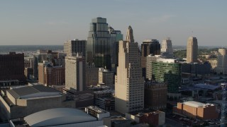 DX0001_001152 - 5.7K stock footage aerial video of a stationary view of tall skyscrapers in Downtown Kansas City, Missouri