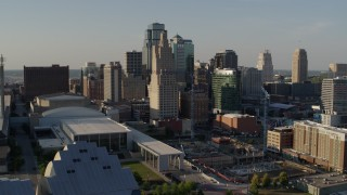 DX0001_001154 - 5.7K stock footage aerial video of descending with view of tall skyscrapers in Downtown Kansas City, Missouri