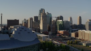 DX0001_001155 - 5.7K stock footage aerial video of a stationary view of skyscrapers in Downtown Kansas City, Missouri