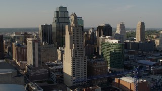 DX0001_001159 - 5.7K stock footage aerial video of passing city skyscrapers in Downtown Kansas City, Missouri