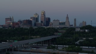 DX0001_001196 - 5.7K stock footage aerial video descend and flyby skyline at twilight, Downtown Kansas City, Missouri