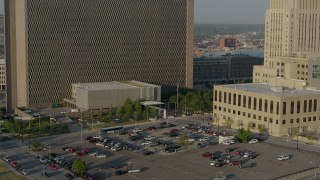 DX0001_001232 - 5.7K stock footage aerial video static view of government office building and police station at sunrise, Downtown Kansas City, Missouri