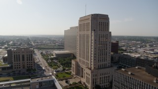 DX0001_001263 - 5.7K stock footage aerial video flyby a courthouse at sunrise for view of government office building, Downtown Kansas City, Missouri