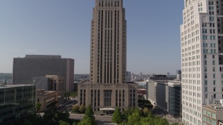 DX0001_001292 - 5.7K stock footage aerial video flying away from city hall and high-rise in Downtown Kansas City, Missouri