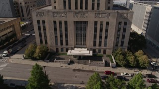 DX0001_001295 - 5.7K stock footage aerial video of the city hall entrance in Downtown Kansas City, Missouri