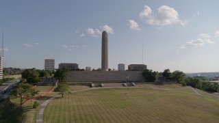 DX0001_001313 - 5.7K stock footage aerial video of orbiting the WWI memorial and museum in Kansas City, Missouri