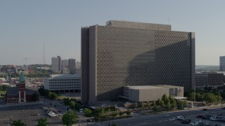DX0001_001324 - 5.7K stock footage aerial video of approaching a government office building in Downtown Kansas City, Missouri