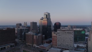 DX0001_001373 - 5.7K stock footage aerial video flyby skyscrapers at twilight in Downtown Kansas City, Missouri