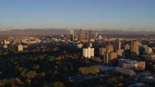 DX0001_001402 - 5.7K stock footage aerial video of downtown skyscrapers seen from apartment buildings at sunrise, Downtown Denver, Colorado