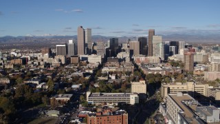 DX0001_001423 - 5.7K stock footage aerial video of a stationary view and flyby of skyscrapers in Downtown Denver, Colorado