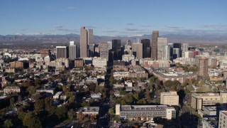 DX0001_001427 - 5.7K stock footage aerial video flyby the city's skyscrapers in Downtown Denver, Colorado
