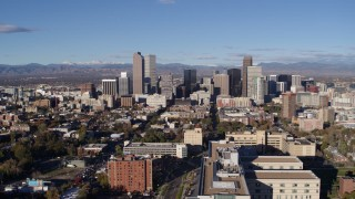 DX0001_001430 - 5.7K stock footage aerial video of approaching the city's skyscrapers in Downtown Denver, Colorado