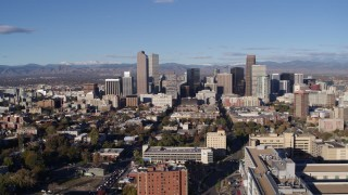DX0001_001431 - 5.7K stock footage aerial video flyby the city's skyscrapers and descend in Downtown Denver, Colorado