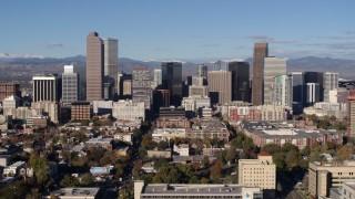 DX0001_001440 - 5.7K stock footage aerial video of skyscrapers in Downtown Denver, Colorado