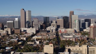 DX0001_001441 - 5.7K stock footage aerial video of flying by skyscrapers in Downtown Denver, Colorado