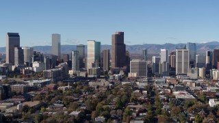 DX0001_001446 - 5.7K stock footage aerial video of a reverse view of the city's skyline in Downtown Denver, Colorado