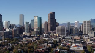DX0001_001449 - 5.7K stock footage aerial video of the city's skyscrapers in Downtown Denver, Colorado, seen while descending