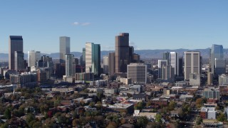 DX0001_001454 - 5.7K stock footage aerial video of a view of skyscrapers in skyline of Downtown Denver, Colorado