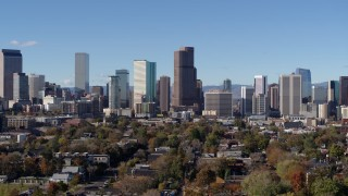 DX0001_001457 - 5.7K stock footage aerial video of skyscrapers in Downtown Denver, Colorado, skyline seen while descending