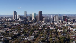 DX0001_001463 - 5.7K stock footage aerial video of a slow pass by skyscrapers in Downtown Denver skyline, Colorado