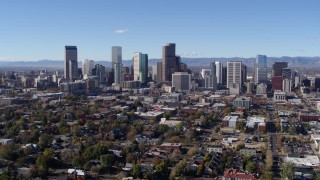 DX0001_001465 - 5.7K stock footage aerial video of skyscrapers in Downtown Denver skyline, Colorado, seen during slow flyby