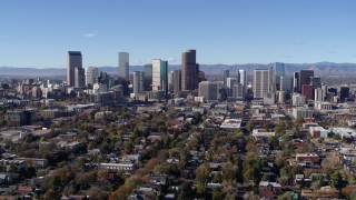 DX0001_001466 - 5.7K stock footage aerial video of a stationary and reverse view of the skyline of Downtown Denver, Colorado