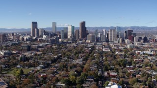 DX0001_001469 - 5.7K stock footage aerial video of slowly flying toward the skyline of Downtown Denver, Colorado