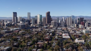 DX0001_001470 - 5.7K stock footage aerial video of approaching the skyline of Downtown Denver, Colorado