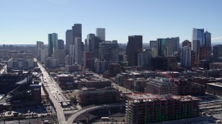 DX0001_001476 - 5.7K stock footage aerial video of a slow approach to skyline in Downtown Denver, Colorado