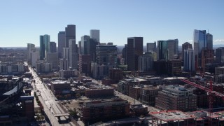 DX0001_001477 - 5.7K stock footage aerial video of a stationary view of skyline in Downtown Denver, Colorado