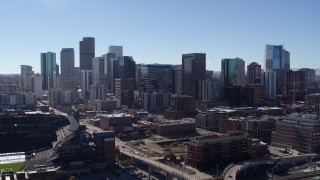DX0001_001479 - 5.7K stock footage aerial video flyby of skyscrapers in Downtown Denver, Colorado skyline