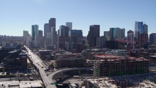 DX0001_001480 - 5.7K stock footage aerial video of skyline seen while flying near Coors Field in Downtown Denver, Colorado