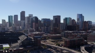 DX0001_001481 - 5.7K stock footage aerial video of skyline seen from near Coors Field in Downtown Denver, Colorado