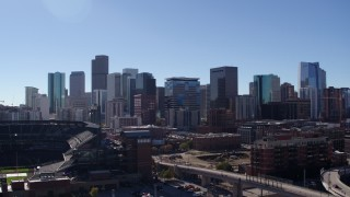 DX0001_001490 - 5.7K stock footage aerial video of a stationary view of the city skyline in Downtown Denver, Colorado