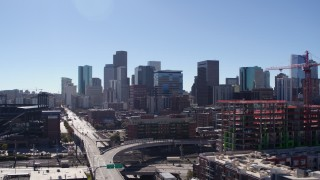 DX0001_001492 - 5.7K stock footage aerial video of a view of the city skyline in Downtown Denver, Colorado