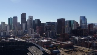 DX0001_001493 - 5.7K stock footage aerial video of the city skyline seen from stadium in Downtown Denver, Colorado