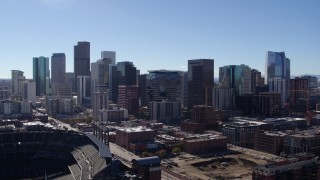 DX0001_001494 - 5.7K stock footage aerial video of slowly flying by the city's skyline in Downtown Denver, Colorado