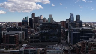 DX0001_001498 - 5.7K stock footage aerial video of office buildings and the city's skyline in Downtown Denver, Colorado